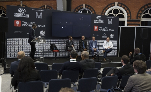Soccerex Love Football Zone left Piara Powar, Guy Price, Marc Joly, Patrick Gasser, John Wroe  © Soccerex/Brownlee