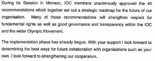 extract from IOC answer