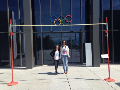 Maria da Penha and Ana Paula outside the IOC headquarters in Lausanne.